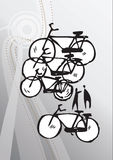Abstract hand-drawn bicycles Stock Photos