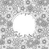 Abstract hand drawn botanical style frame. Doodle art decorative border Royalty Free Stock Photos
