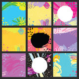 Abstract hand drawn brush colorful cards. Set of 9 vector abstract cards. Isolated elements: swash, drops, hand drawn with brush pen. Colorful, black and white Royalty Free Stock Image