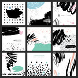 Abstract hand drawn brush colorful cards. Set of 9 vector abstract cards. Isolated elements: swash, drops, hand drawn with brush pen. Colorful, black and white Stock Image