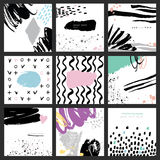 Abstract hand drawn brush colorful cards. Set of 9 vector abstract cards. Isolated elements: swash, drops, hand drawn with brush pen. Colorful, black and white Royalty Free Stock Images
