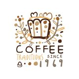 Abstract hand drawn coffee logo design Royalty Free Stock Photo