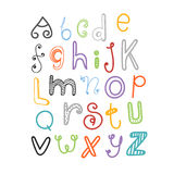 Abstract hand-drawn color doodle alphabet Royalty Free Stock Image