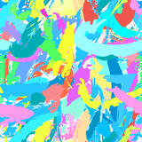Abstract hand drawn colorful background with paint strokes and splashes on the palette. Repeating texture with modern art for fabrics, wrapping paper or stock illustration