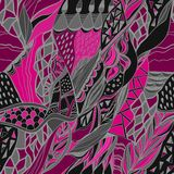Abstract hand drawn composition with Traditional ornamental. Pink  and gray colors. Used for wallpaper, pattern fills, web page background, surface textures Stock Images