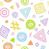 Abstract hand drawn cute geometrical shapes seamless pattern. Texture Stock Illustration