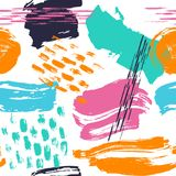 Abstract hand drawn different shapes brush strokes seamless pattern swatch. Print stock illustration