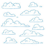Abstract Hand Drawn Doodle Clouds Royalty Free Stock Photography