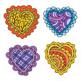Abstract hand drawn doodle hearts decoration set for Valentines day Stock Photo