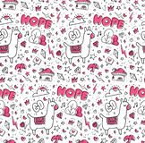 Abstract hand drawn doodles seamless pattern stock illustration
