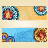 Abstract  hand drawn ethnic pattern card set Royalty Free Stock Photo