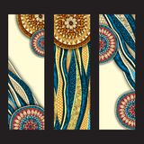 Abstract hand drawn ethnic pattern card set. Stock Photos