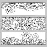 Abstract hand drawn ethnic pattern card set. Royalty Free Stock Images
