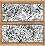 Abstract Hand Drawn Ethnic Pattern Cards. Royalty Free Stock Photo