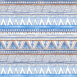 Abstract hand-drawn ethnic pattern, tribal background. Vector pattern. vector Ethnic seamless blue Stock Photo