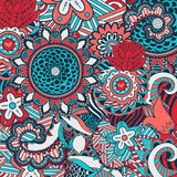 Abstract hand-drawn flower pattern Stock Photos