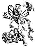 Abstract hand drawn flower, snail, and butterfly stock image