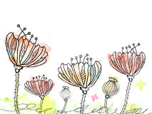 Abstract hand drawn flowers on watercolor blots in doodle style. Royalty Free Stock Photo