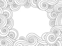 Abstract hand drawn frame, border with outline sea wave background  on white. Horizontal composition. Stock Photo