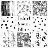 Abstract Hand Drawn Grunge Textured Seamless Patterns Stock Images