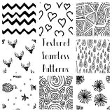 Abstract Hand Drawn Grunge Textured Seamless Patterns Stock Photos