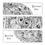 Abstract  hand drawn heart pattern card set. Stock Photo