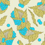 Abstract hand drawn leaves and berries seamless pattern Stock Image