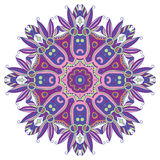 Abstract Hand-drawn Mandala 10. Hand-drawn colorful mandala, lace ornament round pattern, purple vintage decorative element, , EPS 8 Stock Photography