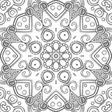 Abstract Hand-drawn Mandala-02. Hand-drawn mandala for coloring, square background, lace ornament pattern, monochrome contour mandala, EPS 8 Stock Photos