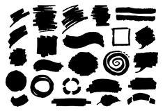 Abstract hand drawn marker strokes textures. Shapes in black Royalty Free Stock Image