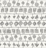 Abstract hand drawn ornamental design with structure of repeating stroked elements Stock Image