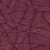 Abstract Hand-drawn Ornamental Pattern. Stylized Seamless texture with swirls and curves. Dark Red Brown Pattern for decoration or background Stock Photos