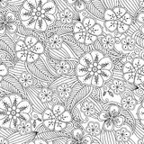Abstract hand drawn outline seamless pattern with flowers and leafs isolated on white background. Royalty Free Stock Image