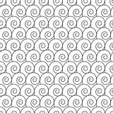 Abstract hand drawn outline spiral curl seamless pattern. Art vector illustration Royalty Free Stock Photos