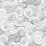 Abstract hand drawn outline wave curl seamless pattern in east asian style isolated on white background. Oloring book for adult and older children. Art vector vector illustration