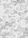 Abstract hand drawn outline wave curl seamless pattern in east asian style  on white background. Stock Photos