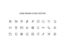 Abstract  Hand drawn outline web icons set  Office Stock Photo
