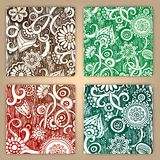 Abstract hand drawn pattern card set. Stock Photos