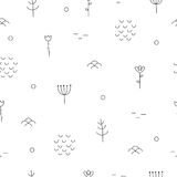 Abstract hand drawn pattern with floral and forest elements. Stock Photos