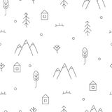 Abstract hand drawn pattern with floral and forest elements. Royalty Free Stock Photography