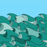 Abstract hand-drawn pattern, waves background Royalty Free Stock Image