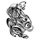 Abstract hand-drawn retro golvenpatroon, golvende achtergrond Stock Illustratie