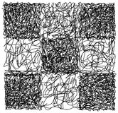 Abstract hand drawn scribble doodle checkerboard chaos pattern  Royalty Free Stock Photography