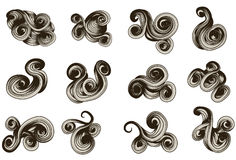 Abstract hand drawn scroll shapes vector illustration