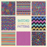 Abstract Hand Drawn Seamless Background Patterns Royalty Free Stock Photo