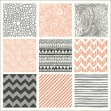 Abstract Hand Drawn Seamless Background Patterns Stock Photo