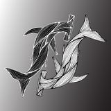 Abstract hand drawn of two giant hammer sharks isolated on gray background. Vector illustration. Outline. Line art. Top view.  stock illustration