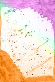 Abstract hand drawn violet green yellow orange watercolor background, raster illustration. Abstract hand drawn watercolor background, raster illustration royalty free illustration