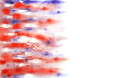 Abstract hand drawn watercolor background. Blue and red blurs. Great for textures, vintage design, and luxurious wallpaper Stock Images