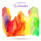 Abstract hand drawn watercolor background. Red, yellow and green colors. Stock Image
